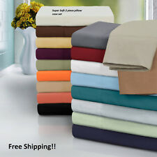 SUPER SOFT SERIES PILLOW CASES STANDARD QUEEN & KING SIZES MANY COLORS SET OF 2