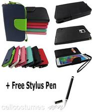 Flip Jacket Wallet PU Leather & Strap Case Cover for Various Phones + Stylus Pen