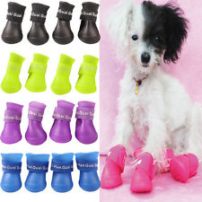 Pet Dog Puppy Waterproof Skidproof Rubber Shoes Boot Candy Color Rain Booties