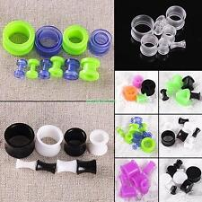 Pair Solid Acrylic Silicone Tunnels Ear Expander Plugs Stretch Gauges Punk