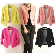 New Women Candy Color 3/4 Sleeves Casual Suit Blazer Solid Slim Coat Jacket S-XL