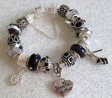 BLACK & SILVER Shoe & Heart Dangles Charm Bead Bracelet Personalised & GIFT BOX