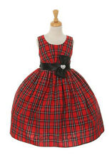 New Champagne Red Flower Girls Plaid Checkered Dress Christmas Pageant 1168C