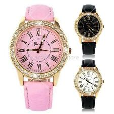Fashion Golden Bling Leather Strap Crystal Analog Women's Quartz Wrist Watch A43