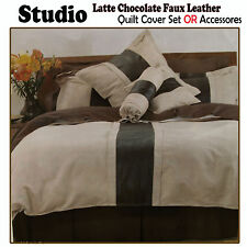 Studio Latte Chocolate Faux Leather - Choice Quilt Cover Set, Cushion, Neckroll