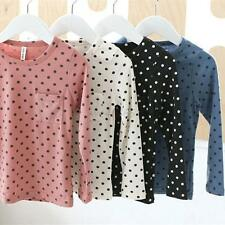 Baby Kid Girl Polka Dot Long Sleeve T-shirt Tops Blouse Leisure Cotton Shirt W21