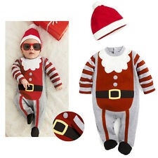 Christmas Toddlers Boys Striped Romper Jumpsuit Baby One-piece Clothes Xmas Gift