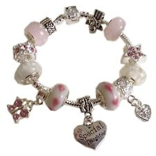 PINK and WHITE Dangle Charm Bead Bracelet with Personalised Heart + GIFT BOX