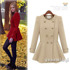 Fashion Autumn Winter Women Double-Breasted Trench Coat Brazer Skater Jacket