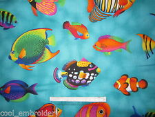 Fish Dolphin whales sharks Sea cotton quilting fabric - *Choose design & size