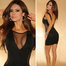Sexy Women Backless Sleeveless Sheer Bodycon Party Clubwear Cocktail Mini Dress