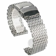 Siliver 18/20/22/24mm Web Mesh Watch Band Bracelet Strap Stainless Steel Buckle
