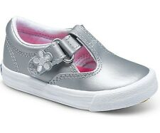 KEDS TODDLER GIRLS DAPHNE T STRAP LEATHER SILVER SHOES SIZE 4-12 KT40964 SNEAKER