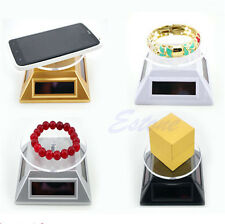 Solar Power 360 Rotating Display Stand Turn Table Plate Fr Phone Watch Jewelry