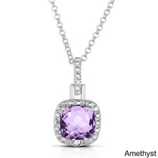 Dolce Giavonna Silverplated Cushion-cut Gemstone Necklace