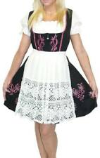 DIRNDL Trachten Oktoberfest Dress German 3pc SHORT BLACK Waitress EMBROIDERED