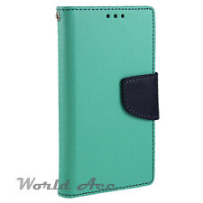 Flip Wallet Pouch Case For HTC phone PU Leather Folio Stand Cover Teal/Blue +TPU