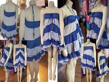 Womens Skirt Dress Top Blue & White Polka Dot MultiWay