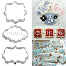 3pcs Plaque Cutter Cookies Frame Cake Oval Square Rectangle Fancy Stainless Mold