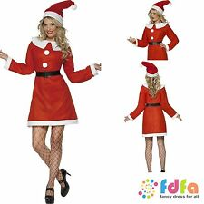 RED MISS SANTA CLAUS & HAT + BELT - all sizes 8-18 - womens xmas fancy dress