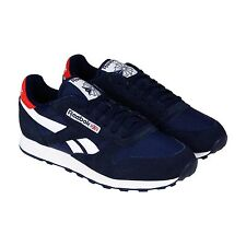 Reebok Mens Classic Sport Blue White Suede Lace Up Sneakers Shoes