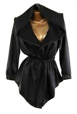PLUS SIZE BLACK FAUX LEATHER TRENCH HOODIE DRAWSTRING WRAP HOODED JACKET COAT