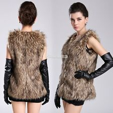 Women Faux Fur Vest Sleeveless Coat Outerwear Long Hair Jacket Waistcoat W3LE