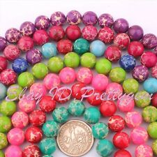 "12MM ROUND SHAPE IMPERIAL JASPER GEMSTONE LOOSE BEADS STRAND 15"" PINK COLOR"