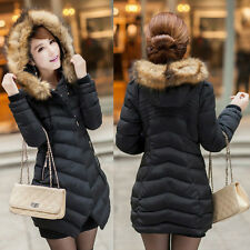 Women's Winter Fashion Fur Hooded Long Warm Trench Coat Hoodie Parka Down Jacket