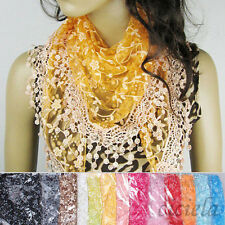 Lace Tassel Rose Floral Knit Mantilla Triangle Hollow Charm Scarf Shawl Wrap HOT