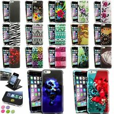 Colorful Rubberized Design Case+Holder+Home Button Sticker For iPhone 6 Plus 5.5