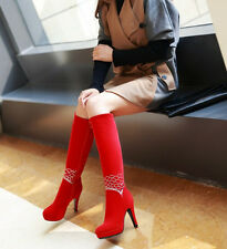 Wedding stiletto knee high boots winter wark women platform heels faux suede zip