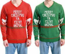 Adult Red / Green Ugly Christmas Sweater Movie Home Alone Merry Filthy Animal