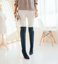 Fashion sexy pointed toe stiletto over the knee thigh high boots faux suede plus