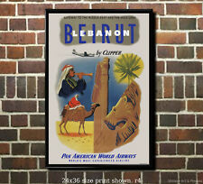 Pan Am Beirut - Vintage Airline Travel Poster [6 sizes, matte+glossy avail]