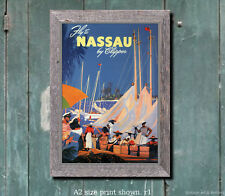 Pan Am Nassau - Vintage Airline Travel Poster [4 sizes, matte+glossy avail]