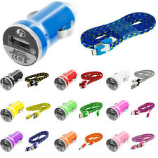 6FT Braided Rope Micro USB Flat Noodle Data Cable+2.1A Car Charger For Phones