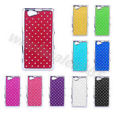 For Sony Cellphone Case Glitter Diamond Crystal Hard Bling Chrome Plastic Cover