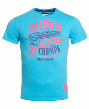 New Mens Superdry Factory Second Speedsters Reworked Classic T-Shirt Fluro Blue