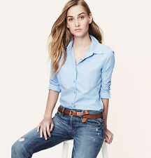 NWT ANN TAYLOR LOFT Blue Essential Softened Collared Long Sleeve Button Shirt