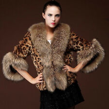 Winter Warm Outwears Womens Cape Leopard Print Faux Fox Fur Furry Jacket Coat