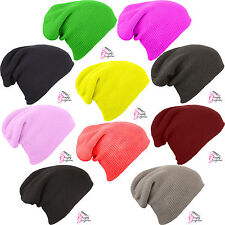 Knitted Woolly Slouch Beanie Beenie Beany Hat Hats Mens Ladies Unisex Winter