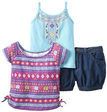 Baby Togs Baby Girls' 3 Piece Purple Aztec Top Blue Tank Top Denim Shorts Set