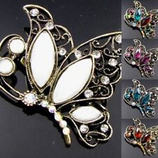 antiqued rhinestone crystal  butterfly brooch pin bouquet