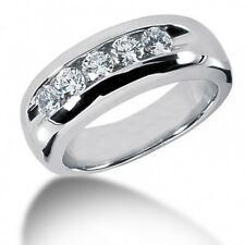 1.15CT Certified Men's Round Brilliant Cut Diamond Wedding Band Ring in 14kt