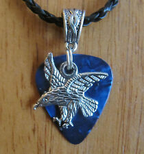 """Handcrafted Tibetan Silver Eagle Guitar Pick Necklace w/Your choice of Color 18"""""""