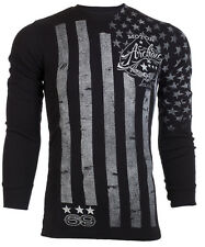 Archaic AFFLICTION Mens THERMAL T-Shirt NATION Tattoo USA FLAG Biker M-3XL $58