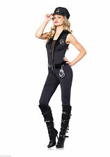 Sexy Backup Officer Cop Police Catsuit Woman Leg Avenue Adult Womens Costume NEW