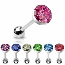 Surgical Steel Glitter Dome Tongue/Nipple Bar Barbell 14ga (1.6mm) size 6mm-22mm