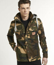 New Mens Superdry Marksman Hoodie Woodland Camo Brown